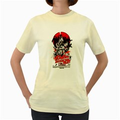 Zombie Destruction Night  Womens  T Shirt (yellow)
