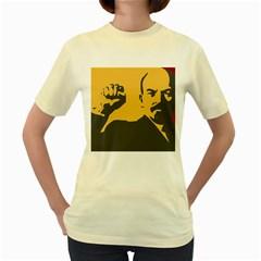Power With Lenin  Womens  T Shirt (yellow) by youshidesign