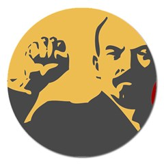 Power With Lenin Magnet 5  (round) by youshidesign
