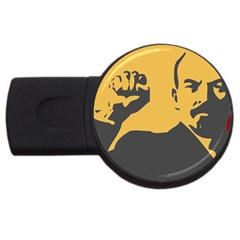 Power With Lenin 4gb Usb Flash Drive (round) by youshidesign