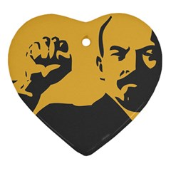 Power With Lenin Heart Ornament (two Sides) by youshidesign