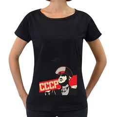 Soviet Red Army Womens' Maternity T-shirt (Black) by youshidesign