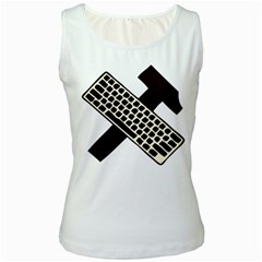 Hammer And Keyboard  Womens  Tank Top (white) by youshidesign