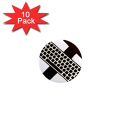 Hammer And Keyboard  1  Mini Button Magnet (10 Pack) by youshidesign