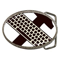 Hammer And Keyboard  Belt Buckle (oval)