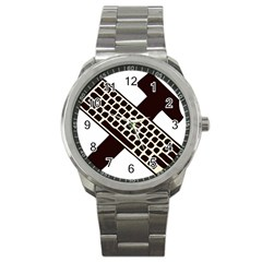 Hammer And Keyboard  Sport Metal Watch by youshidesign