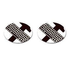 Hammer And Keyboard  Cufflinks (oval) by youshidesign