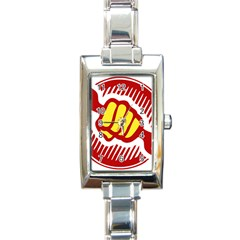 Power To The People Rectangular Italian Charm Watch by youshidesign