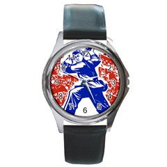Communist Party Of China Round Metal Watch (silver Rim) by youshidesign