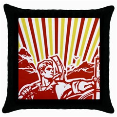Octobe Revolution Black Throw Pillow Case by youshidesign