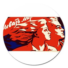Communist Propaganda He And She  Magnet 5  (round) by youshidesign