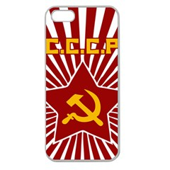 Hammer And Sickle Cccp Apple Seamless Iphone 5 Case (clear) by youshidesign