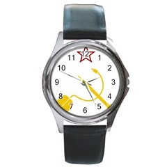 Cccp Mouse Pen Round Metal Watch (silver Rim) by youshidesign