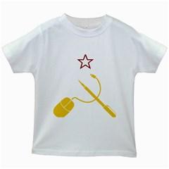 Cccp Mouse Pen Kids' T Shirt (white) by youshidesign