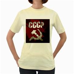 Cccp Soviet Union Flag Women s Yellow T Shirt by youshidesign