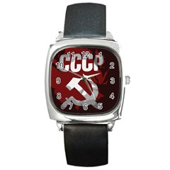 Cccp Soviet Union Flag Square Metal Watch by youshidesign