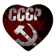 Cccp Soviet Union Flag Heart Ornament (two Sides)