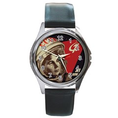 Soviet Union In Space Round Metal Watch (silver Rim) by youshidesign