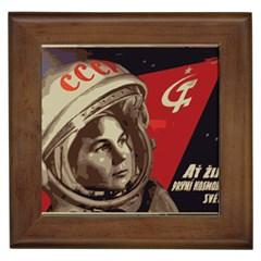 Soviet Union In Space Framed Ceramic Tile by youshidesign