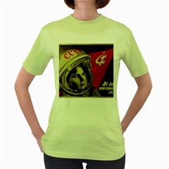 Soviet Union In Space Womens  T Shirt (green) by youshidesign