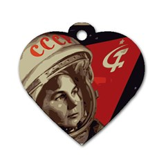 Soviet Union In Space Dog Tag Heart (one Sided)  by youshidesign
