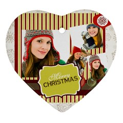 Merry Christmas By Merry Christmas   Heart Ornament (two Sides)   7xvwysyibtdh   Www Artscow Com Front