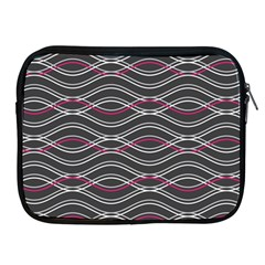 Black And Pink Waves Pattern Apple Ipad 2/3/4 Zipper Case by MCGIFTSHOP