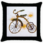 Tree Cycle Black Throw Pillow Case Front