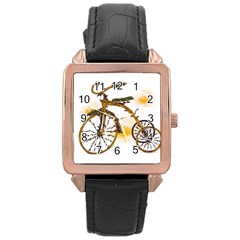 Tree Cycle Rose Gold Leather Watch  by Contest1753604