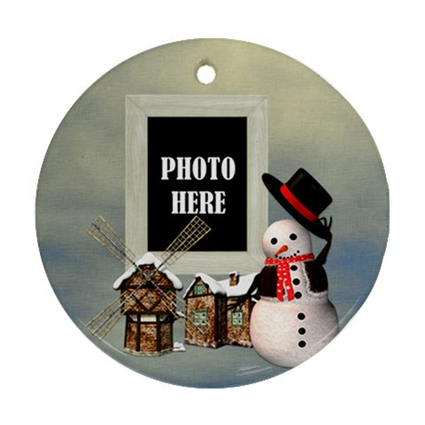 Snowman Village Ornament By Lisa Minor   Ornament (round)   3q0m9kbv1f6j   Www Artscow Com Front
