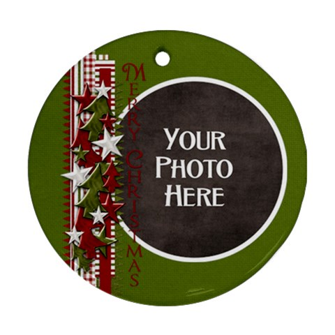 Merry Christmas Ribbon Ornament By Lisa Minor   Ornament (round)   Snxhmklp8725   Www Artscow Com Front