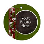 Merry Christmas Ribbon Ornament - Ornament (Round)