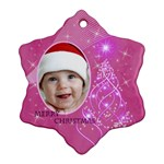 Pink Snowflake Ornament (2 sided) - Snowflake Ornament (Two Sides)