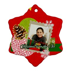 Merry Christmas By Merry Christmas   Snowflake Ornament (two Sides)   6yvfu4p9565d   Www Artscow Com Front