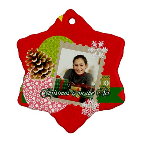 Merry Christmas By Merry Christmas   Ornament (snowflake)   Nph7glz90pkm   Www Artscow Com Front