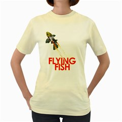 Flying Fish  Womens  T Shirt (yellow) by Contest1732250