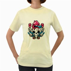 Skulled Cream  Womens  T-shirt (Yellow) by Contest1741741