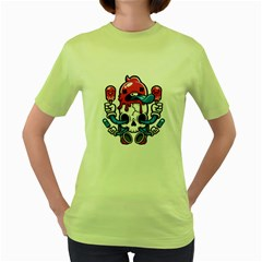 Skulled Cream Womens  T-shirt (Green) by Contest1741741