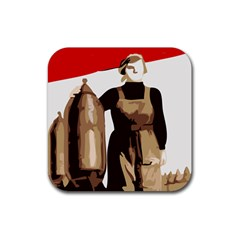 Power  To The Masses Rubber Square Coaster (4 Pack)