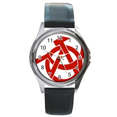 Hammer Sickle Anarchy Round Metal Watch (silver Rim) by youshidesign