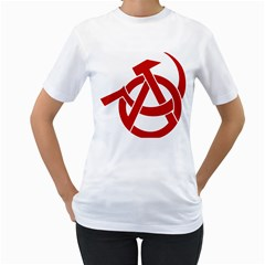 Hammer Sickle Anarchy Womens  T Shirt (white) by youshidesign