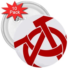 Hammer Sickle Anarchy 3  Button (10 Pack) by youshidesign
