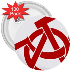 Hammer Sickle Anarchy 3  Button (100 Pack) by youshidesign