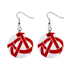 Hammer Sickle Anarchy Mini Button Earrings by youshidesign