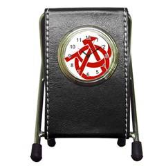 Hammer Sickle Anarchy Stationery Holder Clock by youshidesign