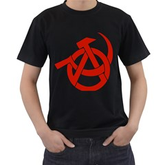 Hammer Sickle Anarchy Mens' Two Sided T Shirt (black) by youshidesign