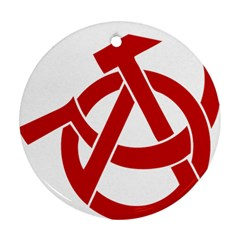 Hammer Sickle Anarchy Round Ornament (two Sides) by youshidesign
