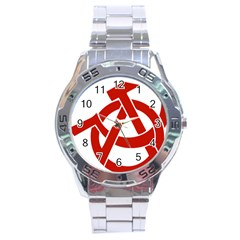 Hammer Sickle Anarchy Stainless Steel Watch (men s) by youshidesign