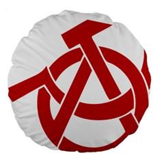 Hammer Sickle Anarchy 18  Premium Round Cushion  by youshidesign