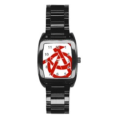 Hammer Sickle Anarchy Men s Stainless Steel Barrel Analog Watch by youshidesign